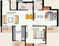 2 BHK Type-A Floor Plan