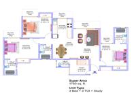 3BR+3T+Study Floor Plan