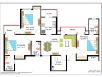 2 BR+2 Toilets+Study Floor Plan
