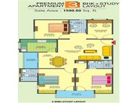 3BHK Floor Plan 1590 Sq.Ft