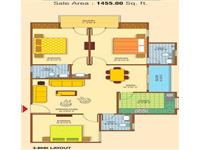 2BHK Floor Plan 1455 Sq.Ft