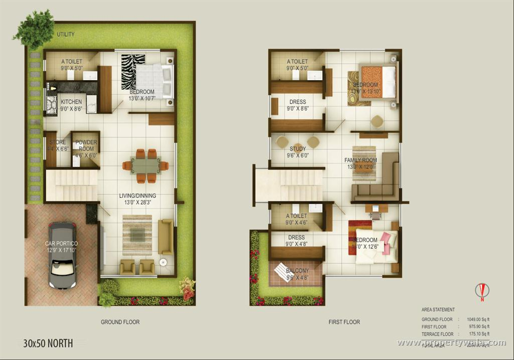 30x50 east floor plan joy studio design gallery best for Duplex layout plan