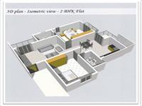 3D - Isometric View 2BHK