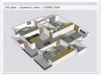 3D - Isometric View 3BHK