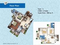 2 BHK - 850 Sq. Ft.