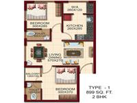 TYPE - 1, AREA - 899 Sq.ft. 2 BHK