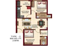 TYPE - 2, AREA - 905 Sq.ft. 2 BHK