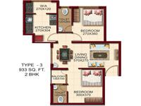 TYPE - 3, AREA - 933 Sq.ft. 2 BHK