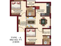 TYPE - 4, AREA - 882 Sq.ft. 2 BHK