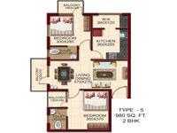 TYPE - 5, Area -980 Sq.ft. 2 BHK
