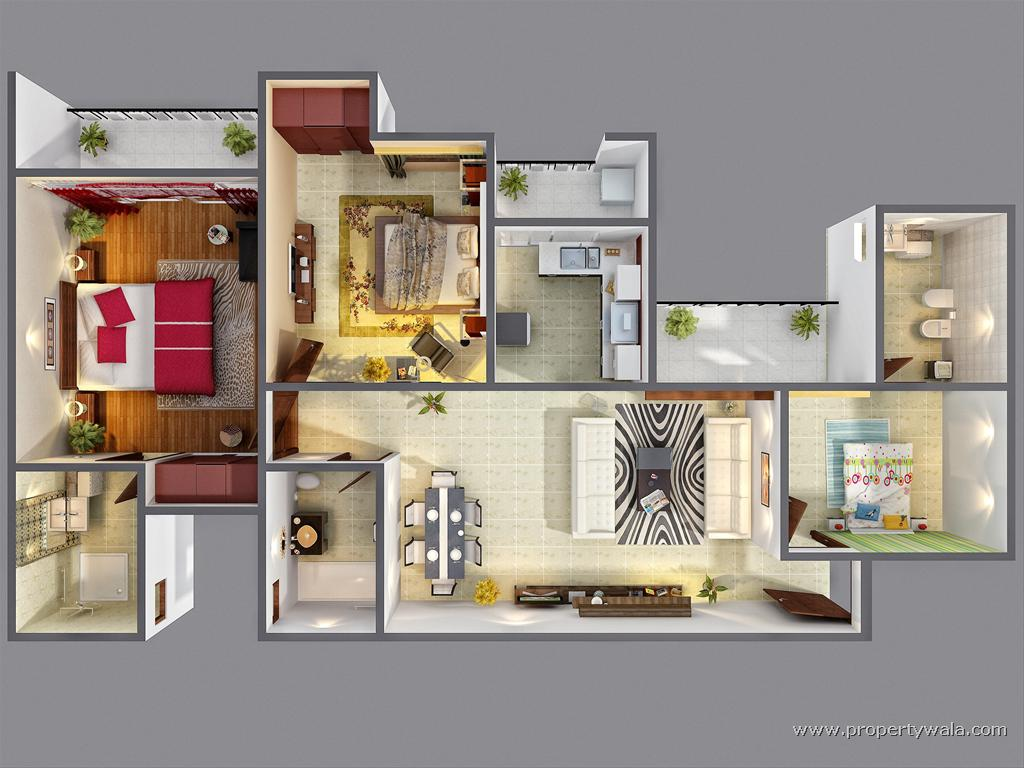 3d floor plan 2bhk for 3d house floor plans
