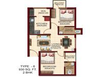TYPE - 6, Area -930 Sq.ft. 2 BHK