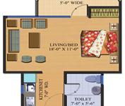 Floor plan (495 sq. ft. Safari studio)
