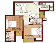 2 BHK - 840 sq.ft.