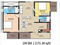 Floor Plan of Flat - 1173 Sqft