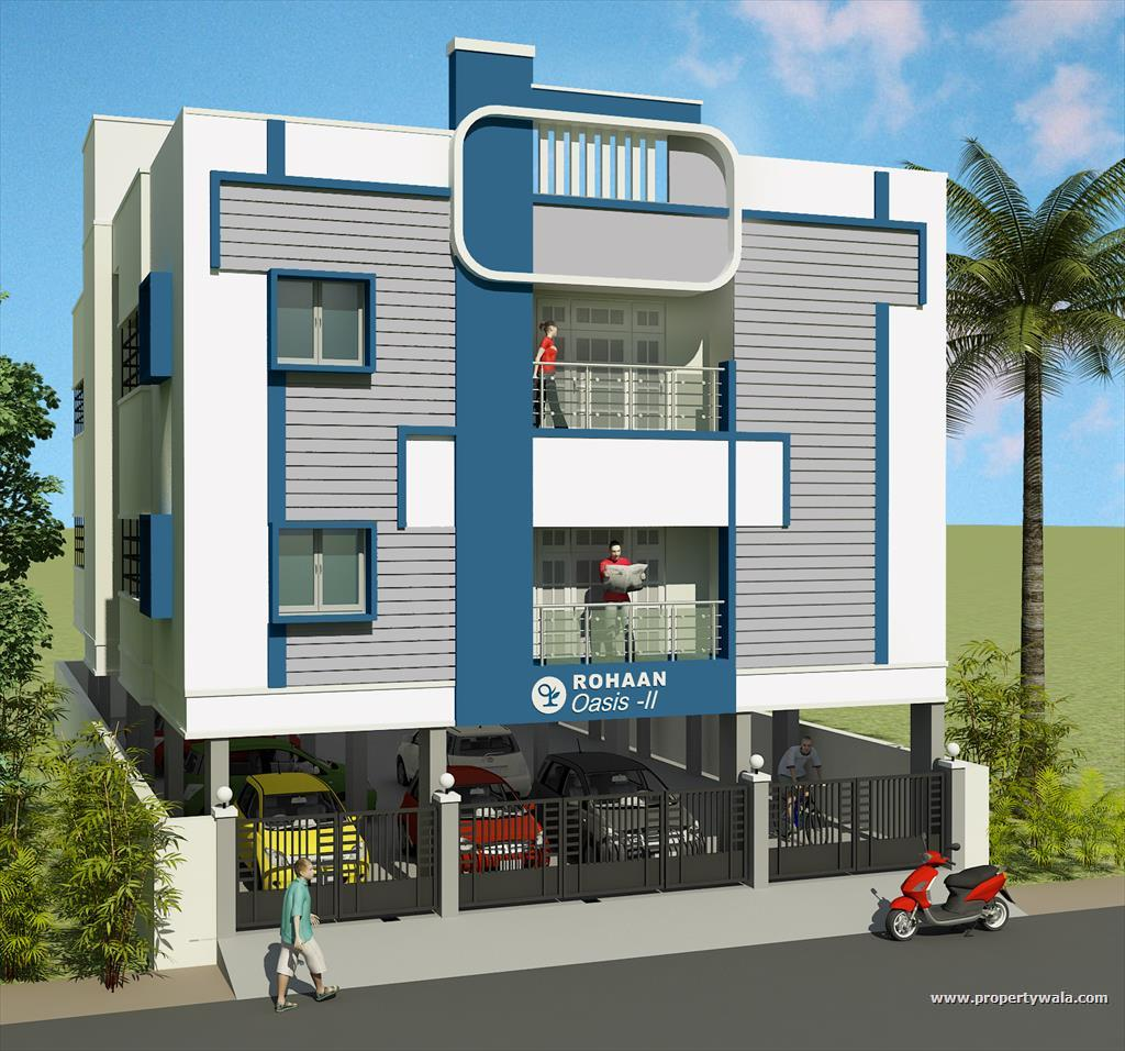 Rohaan oasis ii perambakkam chennai apartment flat for 3 storey building front elevation
