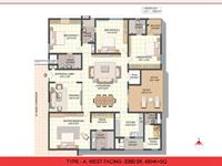 West Facing 3380 Sft, 4BHK + SQ