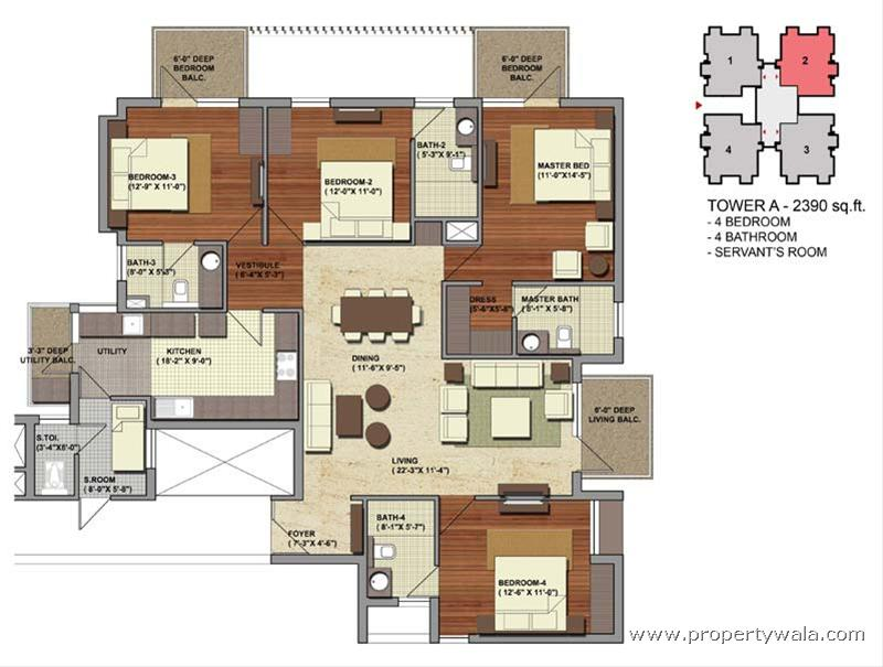 Heritage one golf course road gurgaon apartment for 4 bhk plan layout