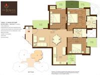 3 BHK + 2 Wash Rooms Super Area - 1525 Sq. Ft.