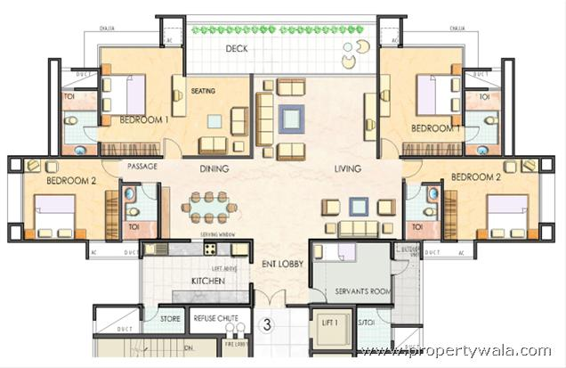 Four Bhk Bungalow Plan Of Clover Belvedere Ghorpadi Pune Apartment Flat