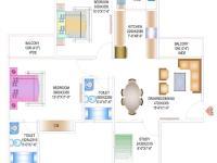 2BR+2T+Study Floor Plan