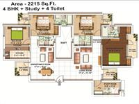 2215 sq ft - 4BHK + Study + 4Toilet