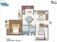 2BHK 840 Sq Ft Floor Plan