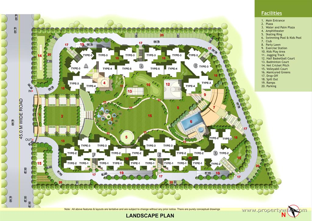 Elegant ville noida extension greater noida apartment for Landscape layout plan