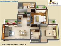2BHK + 2T - 1048 Sq. Ft.
