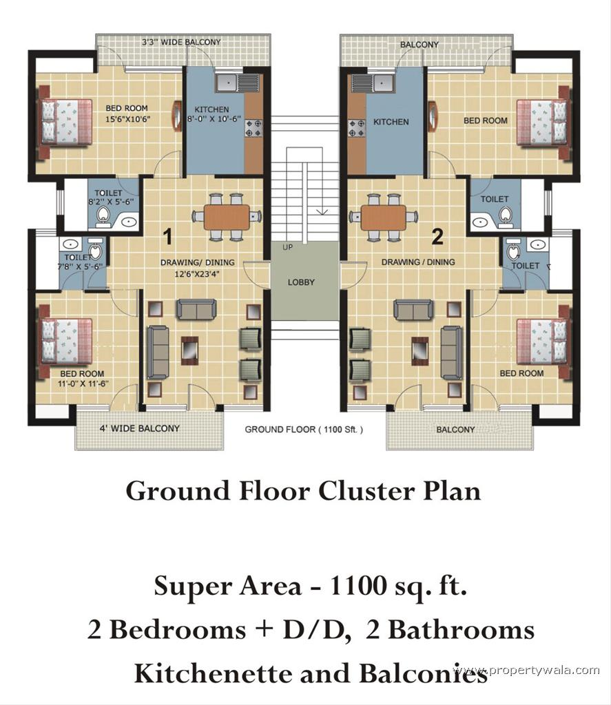 Cluster House Floor Plan: Vrindavan, Mathura