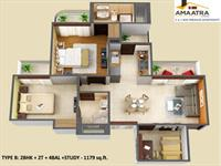 2 BHK + 2 T - 1179 Sq. Ft.
