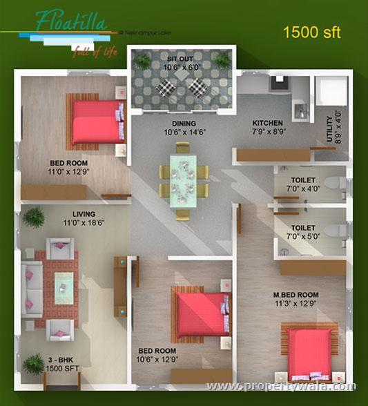 Elegant floatilla manikonda hyderabad residential 1500 sq ft house plan indian design