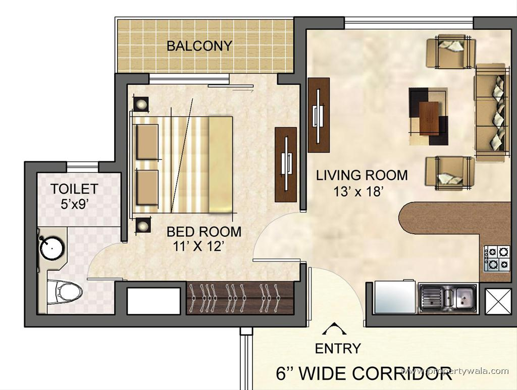 Logix new town sector 150 noida apartment flat for Small one bedroom apartment floor plans