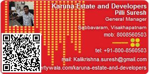 Visiting Card of Karuna Estate and Developers